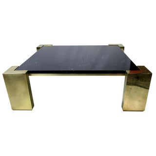 Monumental Italian Modernist Brass Coffee Table with Inset Marble Top