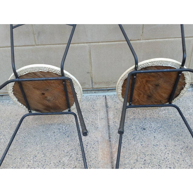 Mid-Century Petite Wrought Iron Cafe Chairs - Pair - Image 7 of 9