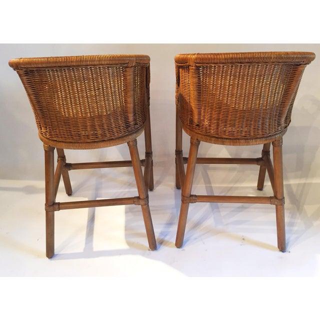 Contemporary Wicker Barstools - Pair - Image 5 of 5