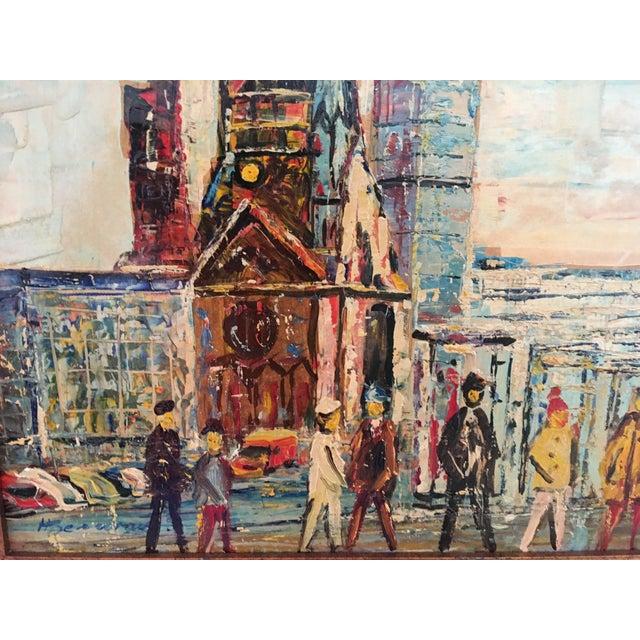 Midcentury Berlin Street Oil Painting - Image 4 of 5