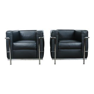 Le Corbusier LC3 Chrome & Leather Chairs - A Pair