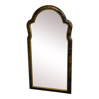 Decorative Crafts Black & Gold Painted Queen Anne Looking Glass Wall Mirror