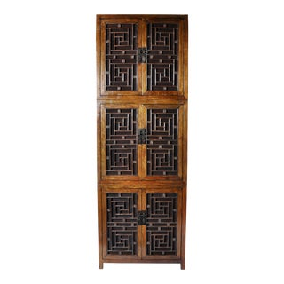 Tall Chinese Lattice Door Cabinet