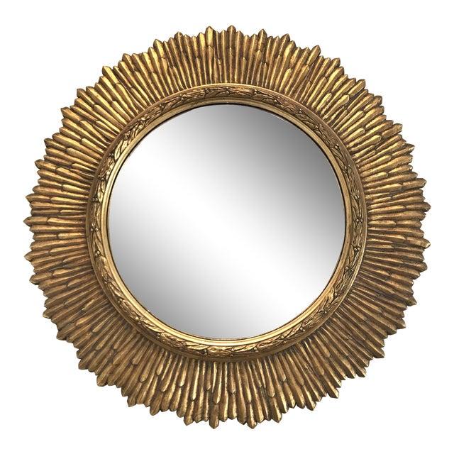 Large Vintage Gilt Wood Sunburst Convex Mirror - Image 1 of 3