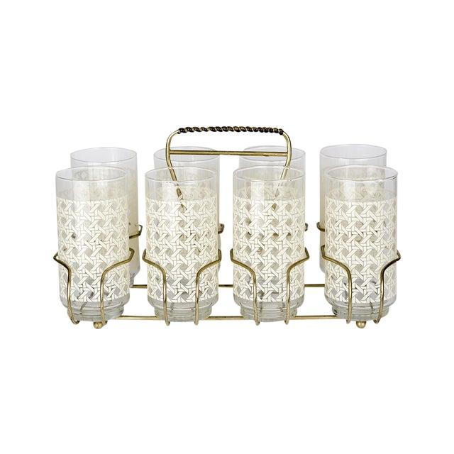 Caned Vintage Highball Glasses & Caddy - Set of 8 - Image 1 of 7