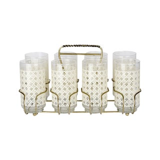 Caned Vintage Highball Glasses & Caddy - Set of 8