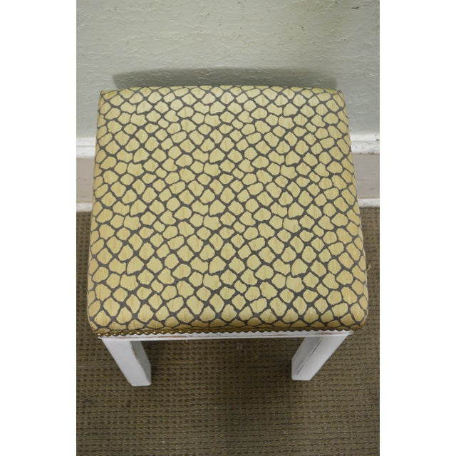 Mid Century Pair of Custom Painted Square Stools Benches - Image 9 of 11