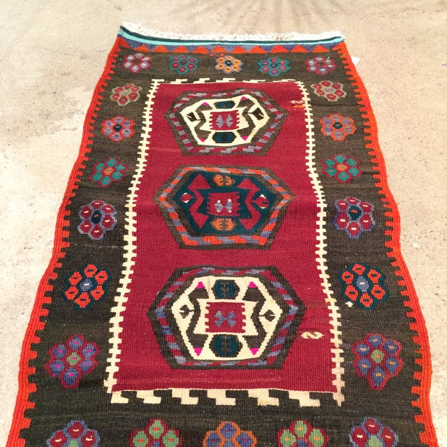 "Vintage Turkish Anatolian Kilim - 1'9"" X 3'5"" - Image 5 of 5"