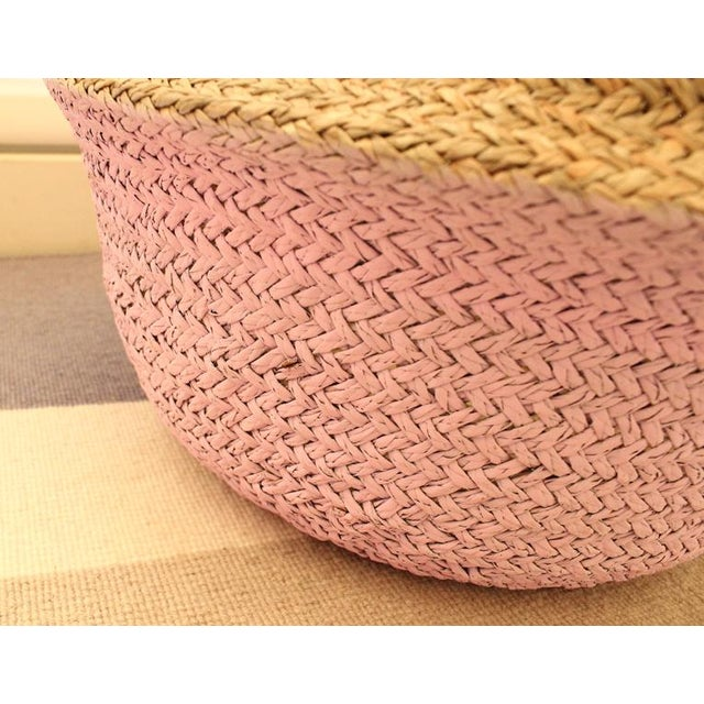 Double Woven Sea Grass Pastel Pink Pom Poms Belly Basket - Image 5 of 7