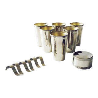 Vintage Metal Travel Mugs - Set of 6