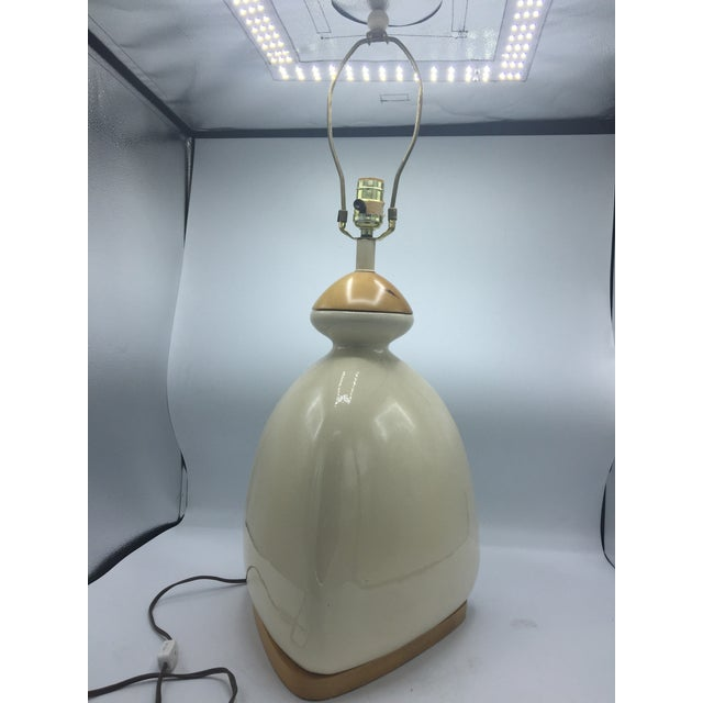 Ceramic & Wood Triangular Lamp - Image 2 of 7