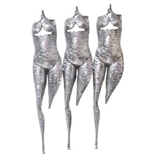 3 Muses, 3 Graces Textural and Brutalist Wall Sculpture