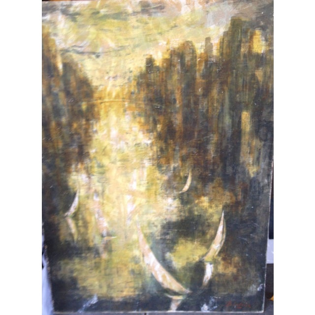 Vintage Abstract City Scene Painting - Image 3 of 3