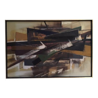 Silber Vintage Mid-Century Abstract Oil Painting