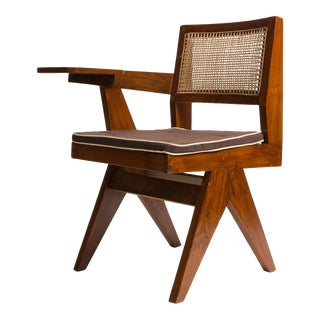 Pierre Jeanneret library chair with single arm. Chandigarh