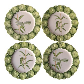 Italian Faience Hand-Painted Plates-Frogs & Lilly Pads - Set of 4