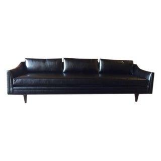 Mid Century Style Custom Black Vinyl Sofa