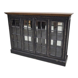 Black Painted French Cottage Cabinet Cupboard