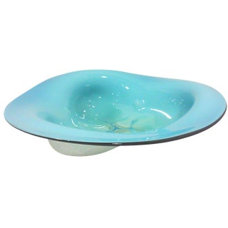 Blue Cased Triangular Art Glass Bowl