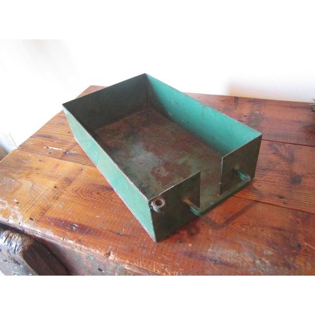 Vintage Industrial Green Painted Steel Drawer Bin Firewood Holder - Image 4 of 8