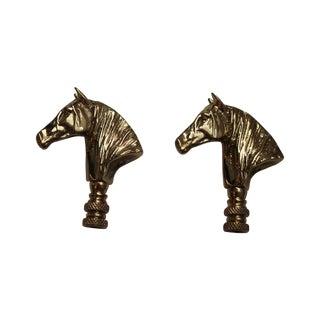 Brass Horse Head Lamp Finials - a Pair