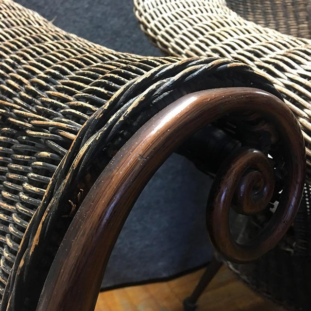 Wood & Iron Outdoor Armchairs W/ Seat Cushions - A Pair - Image 8 of 10