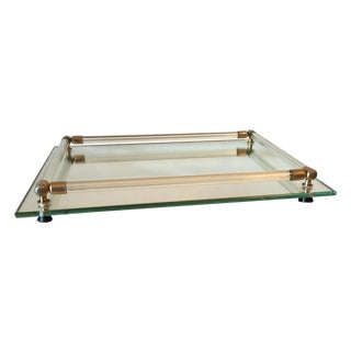 Vintage 1960s Mirrored Glass Tray with Lucite Rods