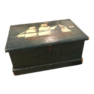 Antique Country American Trunk With Painted Ship Decoration.