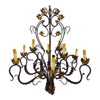 Antique Hand Forged Wrought Iron Tole Chandelier
