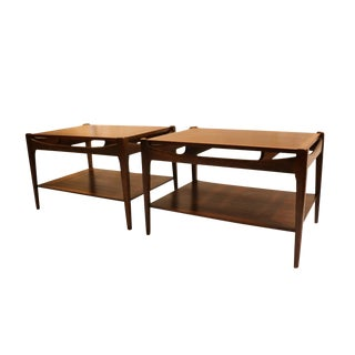 Bassett Mid-Century Danish Inspired Walnut Side Tables - A Pair