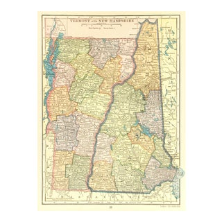 Vintage Vermont and New Hampshire 1926 Map