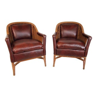 Heywood Wakefield Leather and Wicker Club Chairs- A Pair