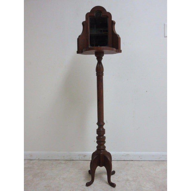 Vintage Pine Carved Pedestal Shaving Mirror Stand Cheval - Image 2 of 4
