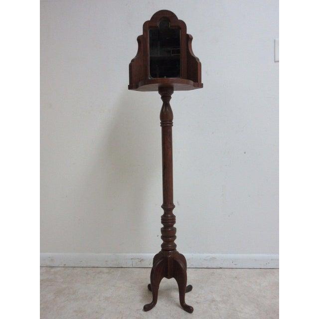 Image of Vintage Pine Carved Pedestal Shaving Mirror Stand Cheval