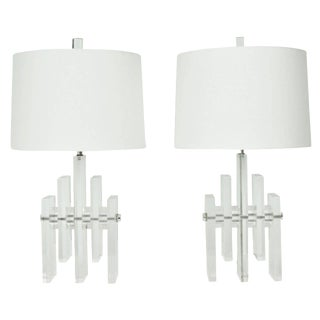 """Pair of Lucite """"Skyscraper"""" Lamps with Chrome Rod"""