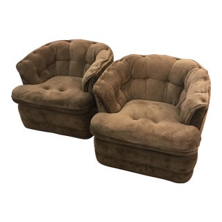 Vintage Tufted Swivel Chairs - A Pair