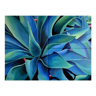 'Silver Blue Agave' Acrylic Painting