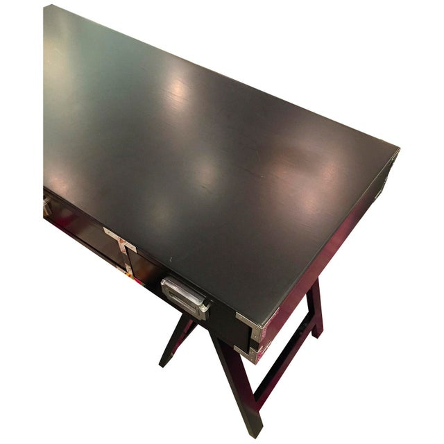 Lacquered in Black Campaign Desk with Chrome and Brass Hardware - Image 5 of 6