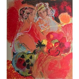 "Lea Avizedek ""Two Women"" Signed Multi-Technique Litho/Serigraph Print"
