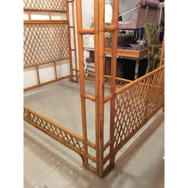 Rattan Bamboo Chinese Chippendale Queen Canopy Bed - Image 7 of 12
