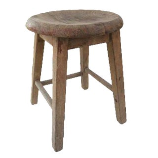 Antique Wooden Round Seat Stool