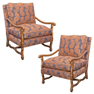 Grey Orange Paisley French Bergere Chairs - Pair