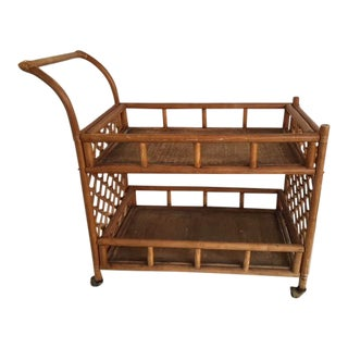 Mid-Century Modern Bamboo & Rattan Bar Cart