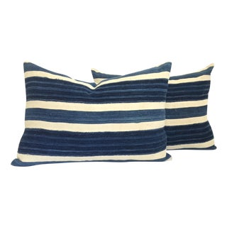 Vintage African Indigo Stripe Pillows - A Pair