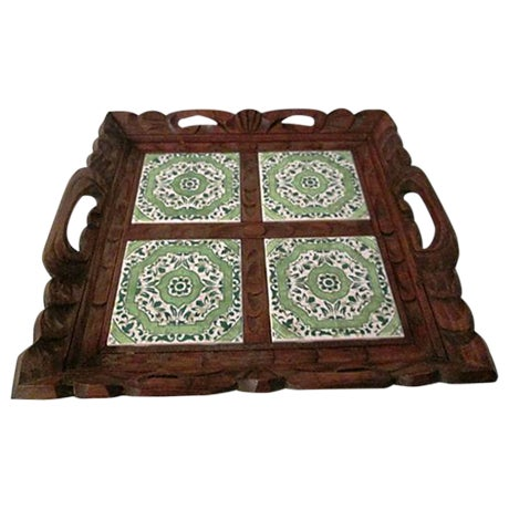 Mexican Carved Wood Green Tile Tray - Image 1 of 5