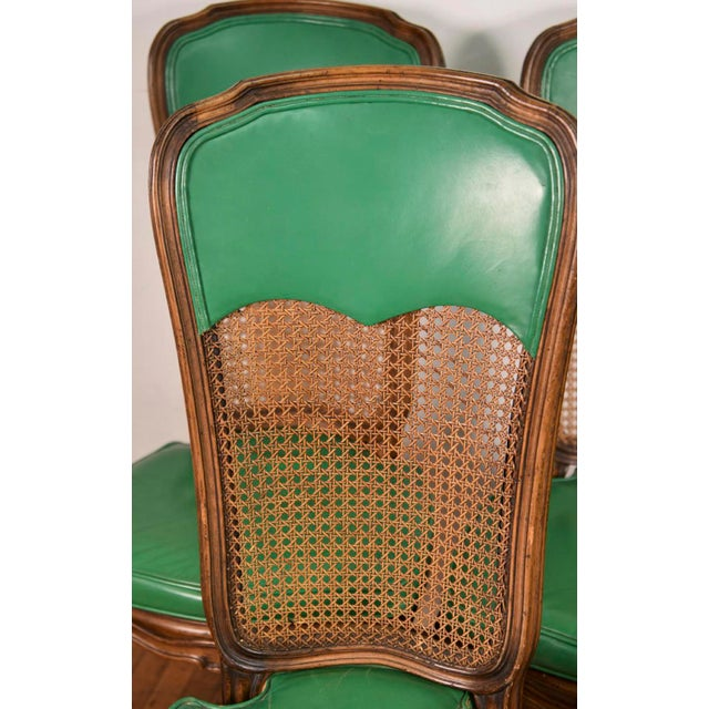 6 French Provincial Caned Dining Chairs-Green Leather Cushions - Image 4 of 8