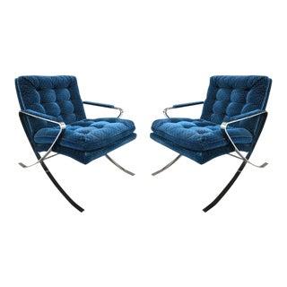 Pair of Milo Baughman Style Flat Bar Steel Chrome Lounge Chairs