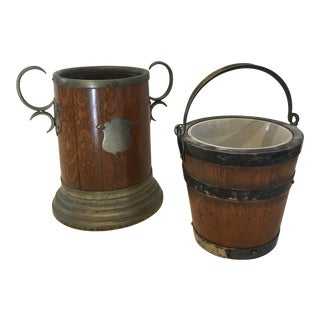 Barrel Style Containers - A Pair