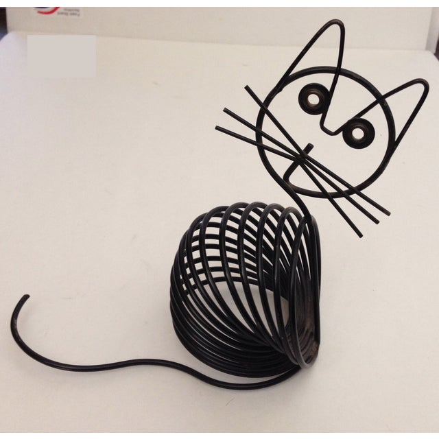 Vintage Mid-Century Black Wire Cat - Image 5 of 6