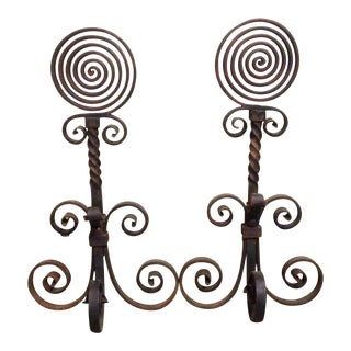 Antique Wrought Iron Spiral Andirons - A Pair